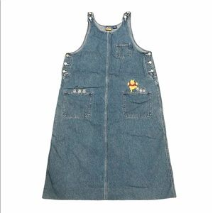 Vintage Winnie The Pooh Embroidered Overall Dress